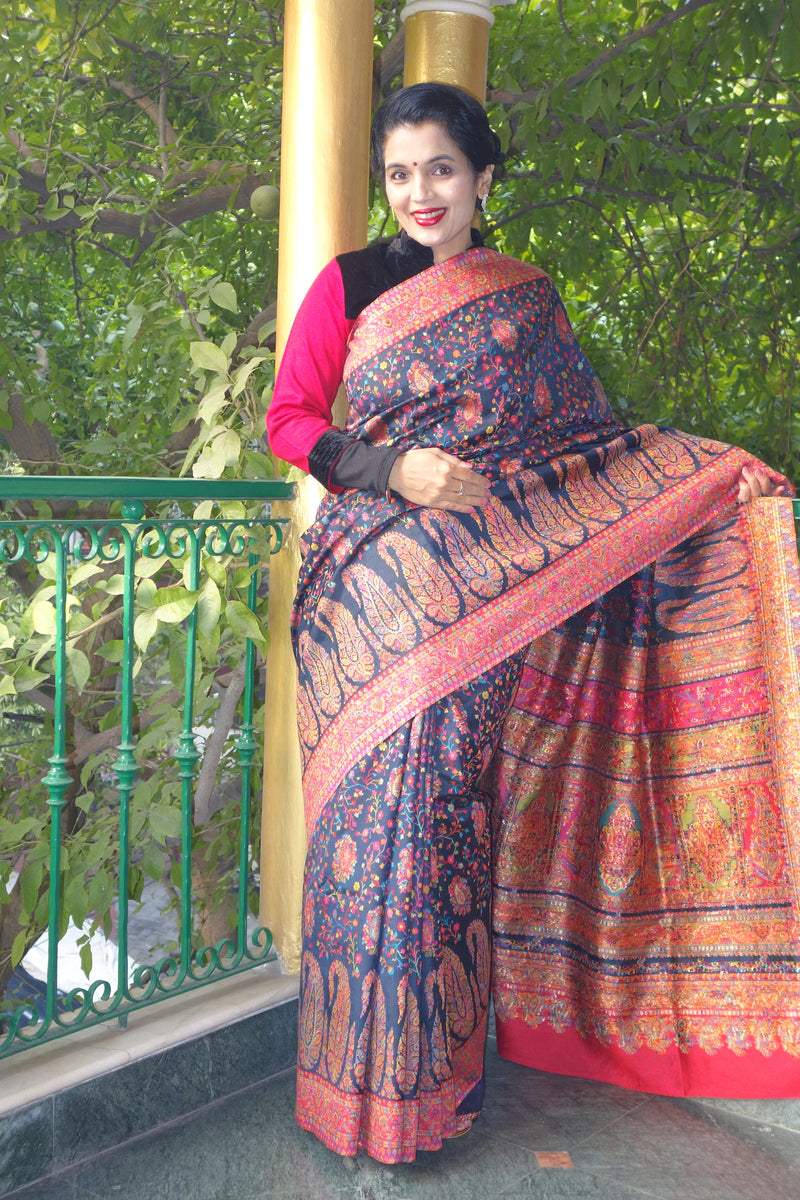 Navy Blue Pashmina Silk Kani Saree - Kashmir Collection - sohum sutras