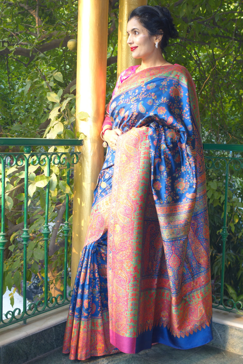 Royal Blue Pashmina Silk Kani saree - Kashmir Collection - sohum sutras