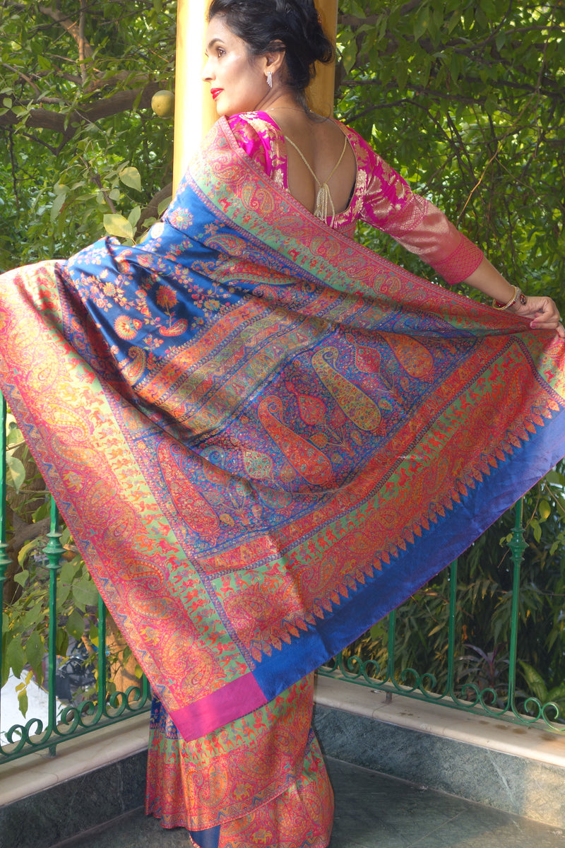 Blue pashmina silk kani saree by Sohum Sutras