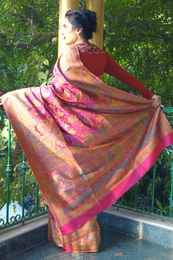 Fuschia Pashmina silk Kani saree - Kashmir Collection - sohumsutras