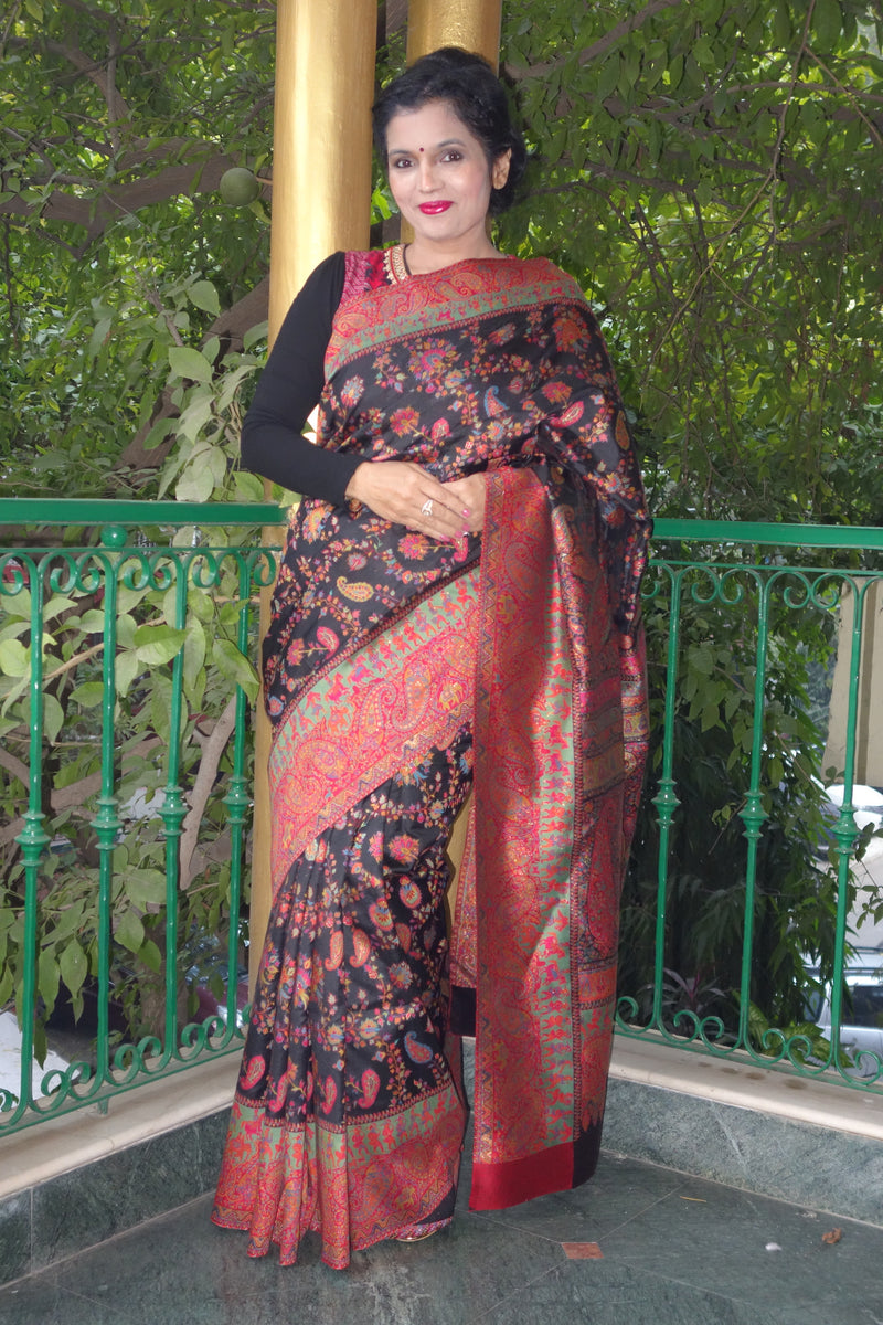 Black Pashmina Silk Kani Saree - Kashmir Collection - sohum sutras