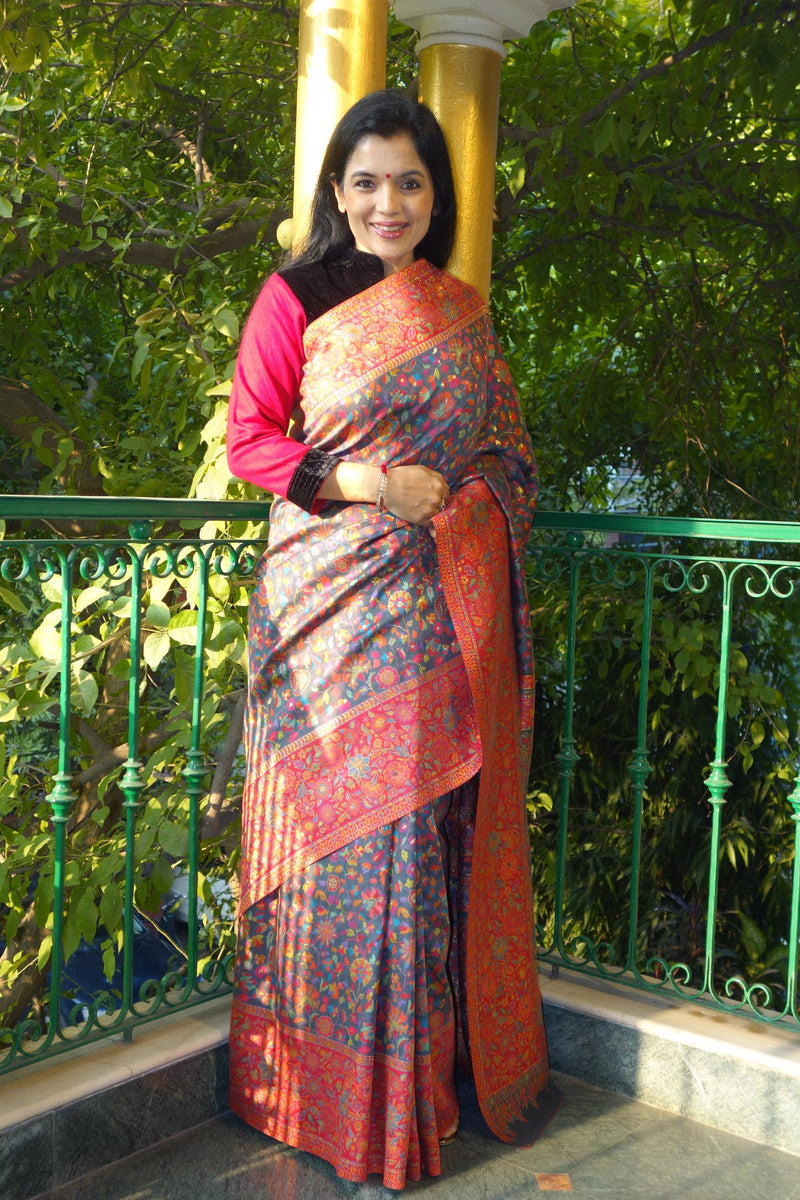 Silver Grey Gulabdar Kani saree - Kashmir Collection - sohum sutras