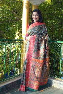 Bottle Green Kani saree - Kashmir Collection - sohum sutras