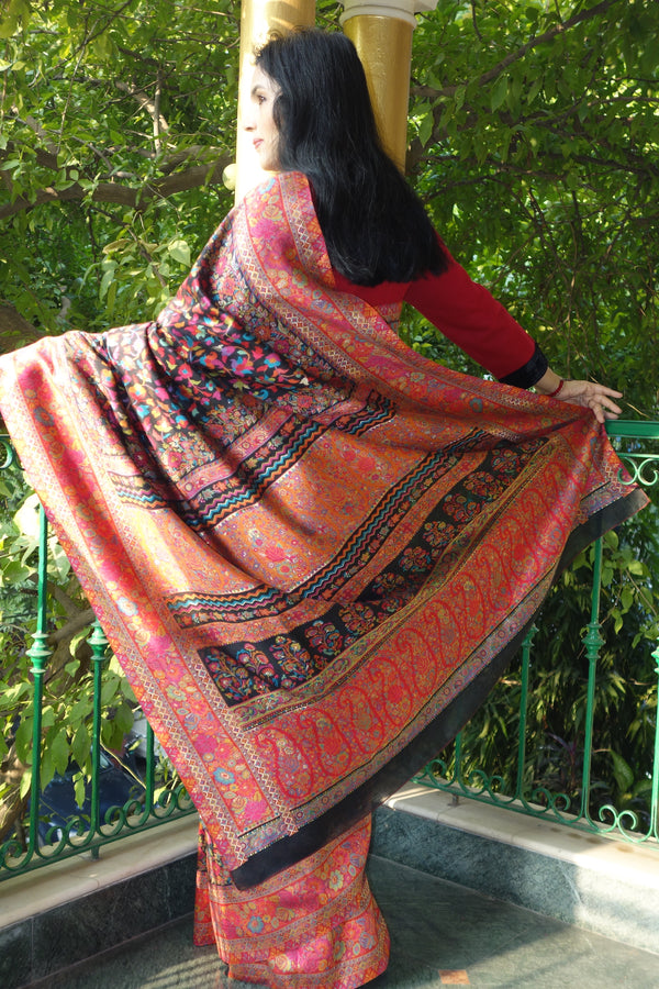 Black Kani saree with a narrow border - Kashmir Collection - sohum sutras