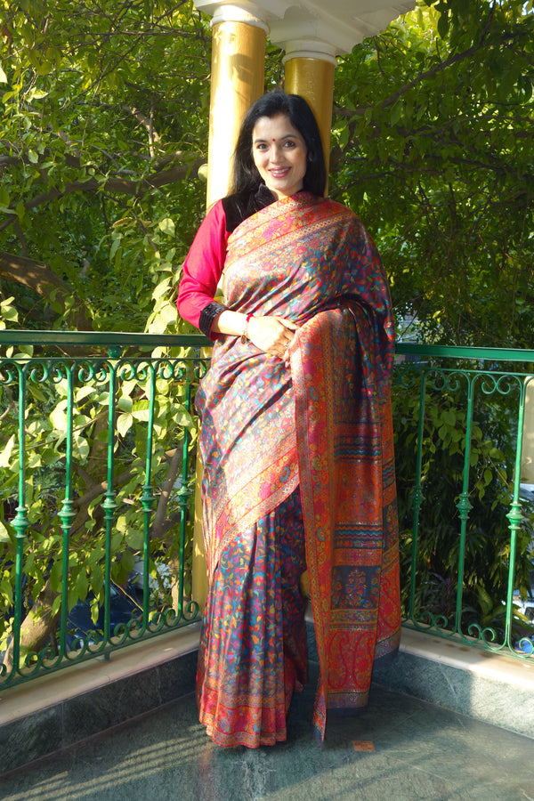 Charcoal grey kani saree with a broad border - Kashmir Collection - sohum sutras