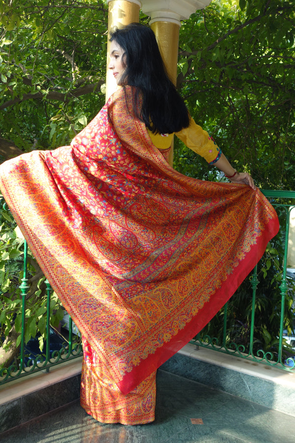 Red and Yellow Kani saree - Kashmir Collection - sohum sutras