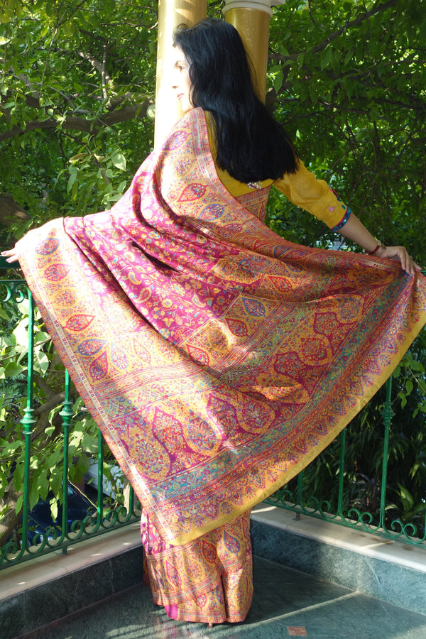 Fuschia and Yellow Kani saree with broad border - Kashmir Collection - sohum sutras