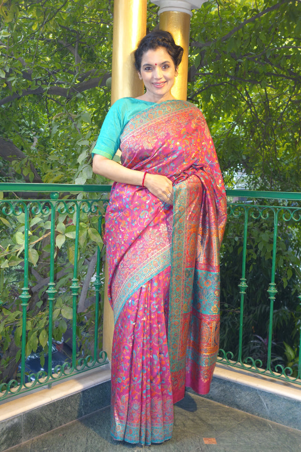Fuschia and green Kani saree with a narrow border - Kashmir Collection - sohum sutras