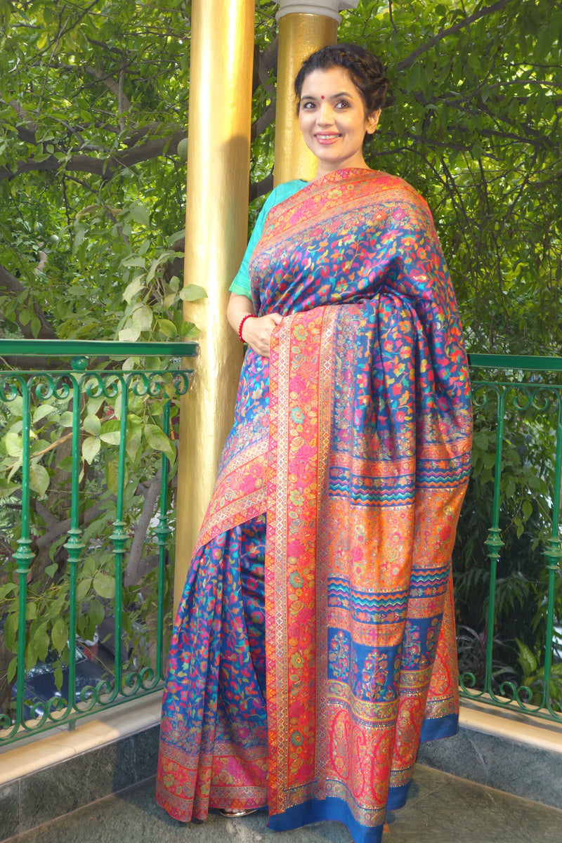 Blue and red kani saree with narrow border - Kashmir Collection - sohum sutras