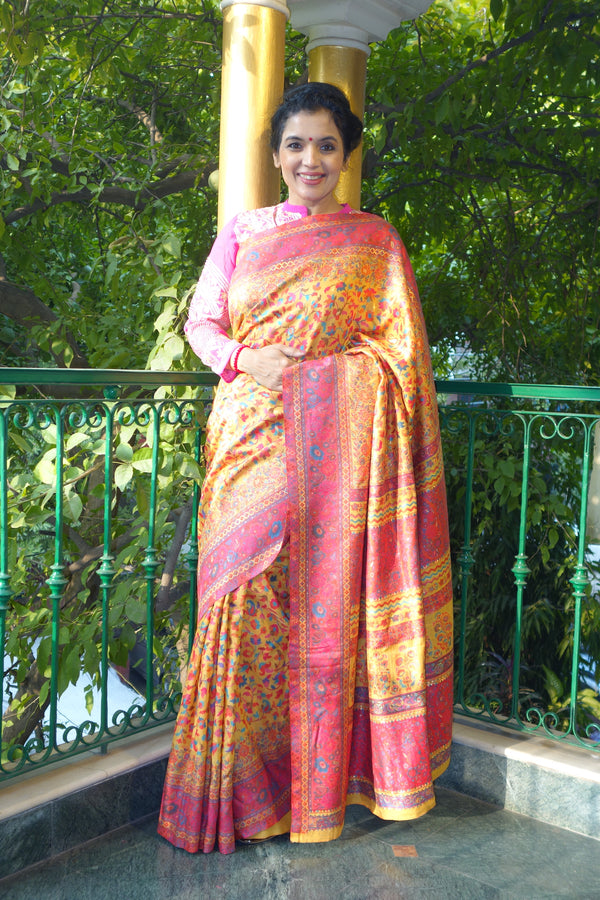 Yellow and pink Kani saree with a narrow border - Kashmir Collection - sohum sutras