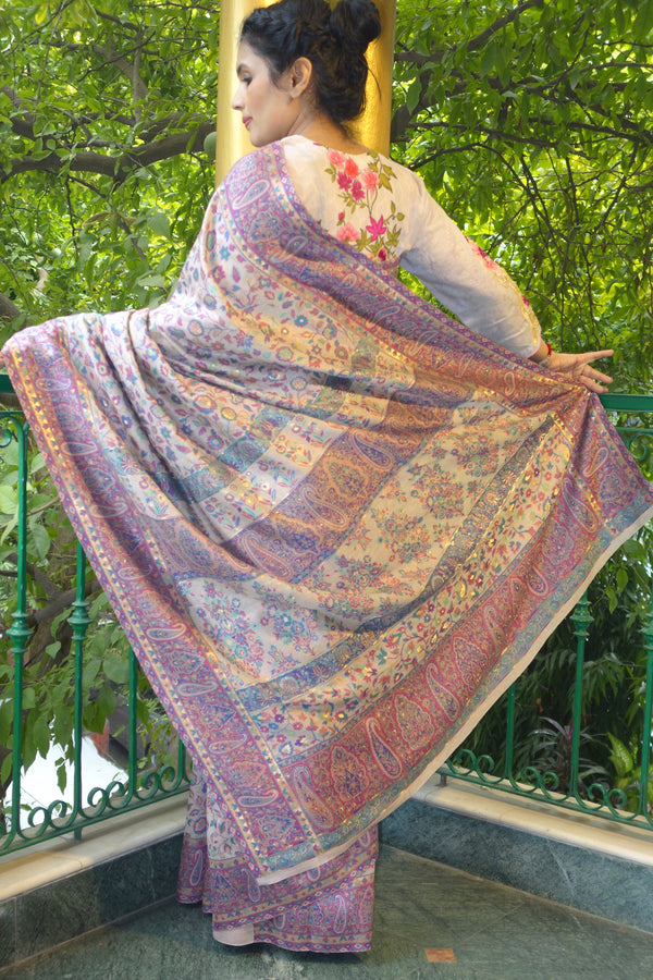 Lilac Kani saree with a narrow border - Kashmir Collection - sohum sutras