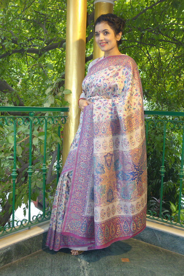 Lilac Kani saree with narrow border - Kashmir Collection - sohum sutras