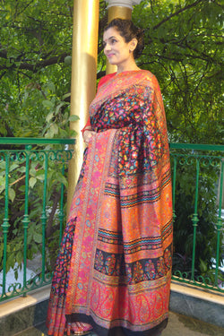 Black Kani saree with a narrow floral border - Kashmir Collection - sohum sutras
