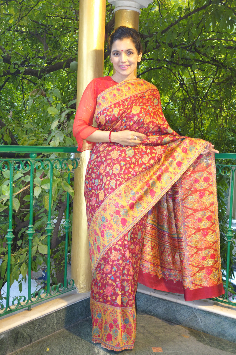 Red Floral/Gulabdar Kani saree with a yellow border - Kashmir Collection - sohum sutras