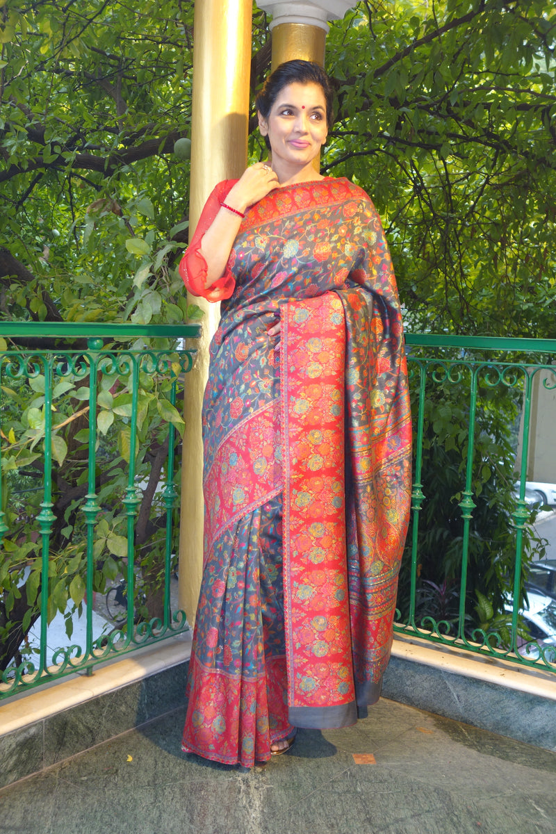 Charcoal grey floral Kani saree with a broad border - Kashmir Collection - sohum sutras