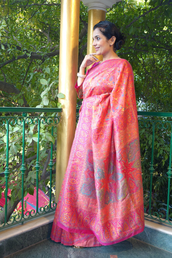 Pink Kani Saree - Kashmir Collection - sohum sutras