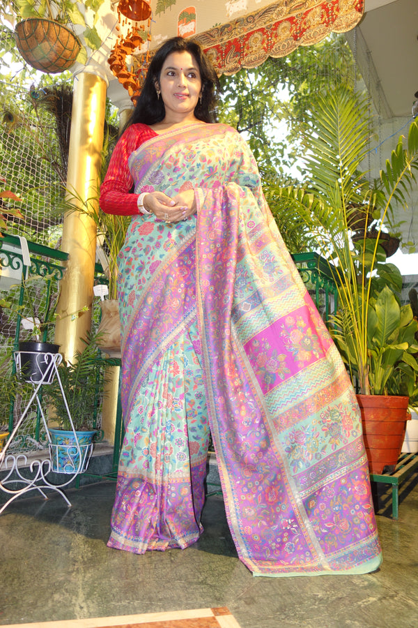 Mint Green Gulabdar Kani Saree