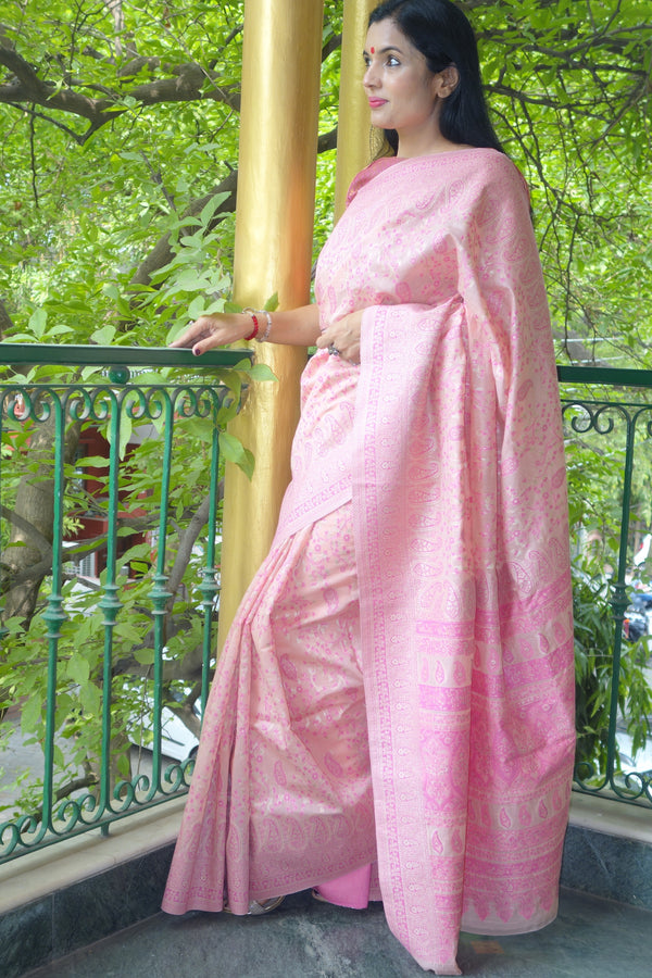 Soft pink pure cotton Kani Saree - Kashmir Collection - sohum sutras