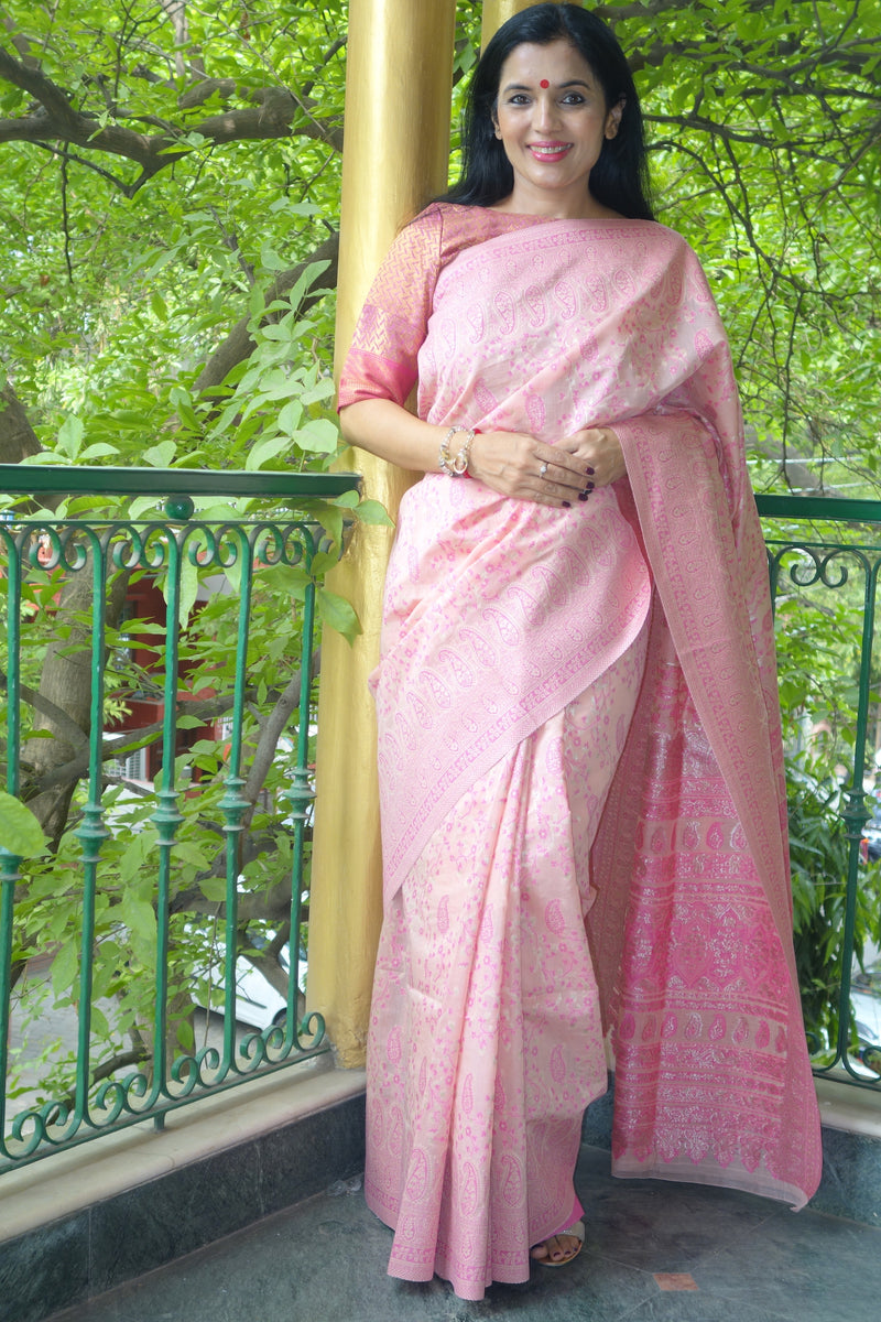 Soft pink pure cotton Kani Saree