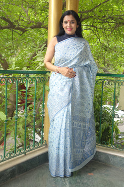 Silver blue pure cotton Kani Saree