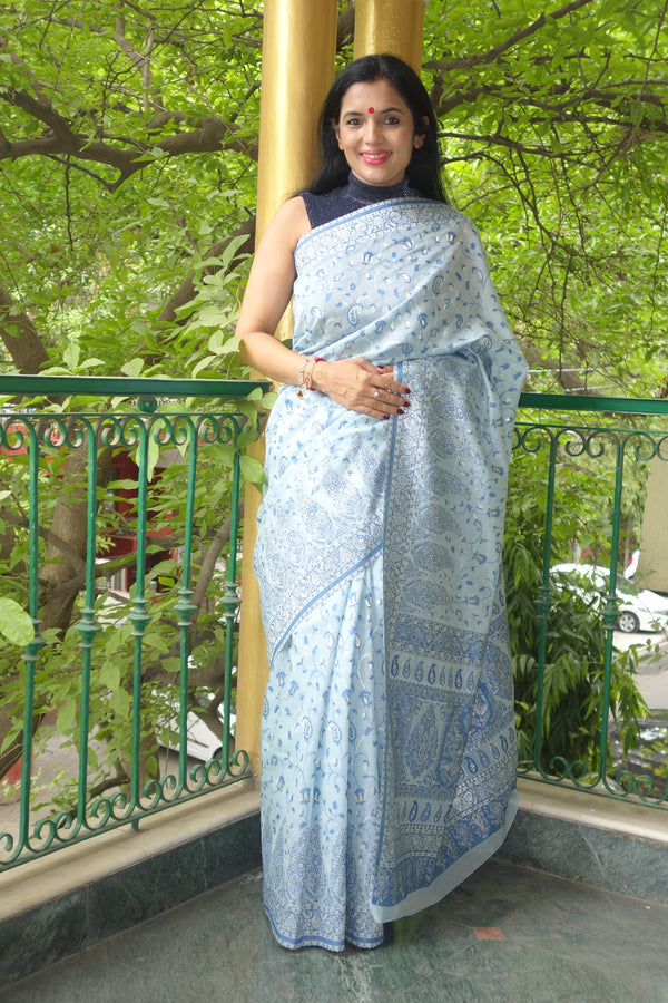 Silver blue Cotton Kani Saree - Kashmir Collection - sohum sutras