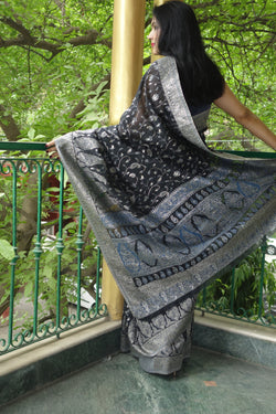 Black cotton Kani saree - Kashmir Collection - sohum sutras