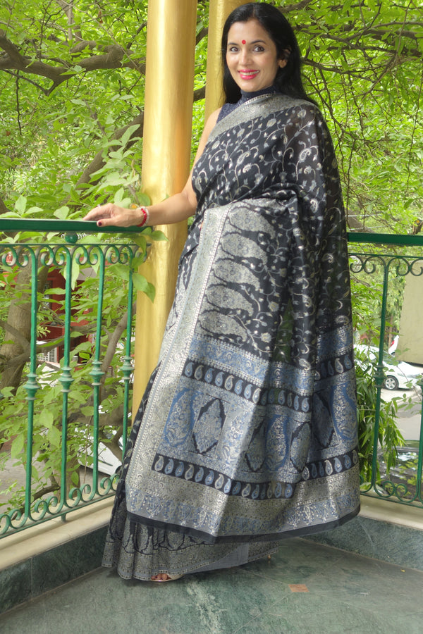 Black pure cotton Kani Saree
