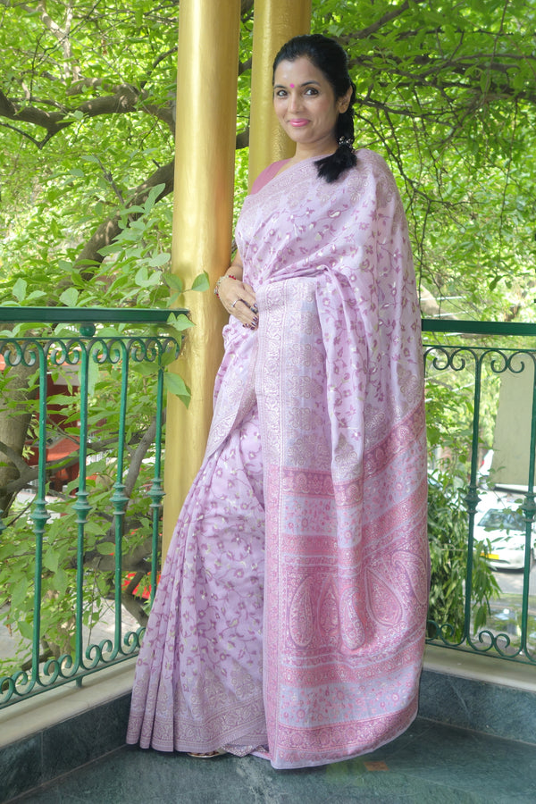 Mauve colour cotton Kani saree - Kashmir Collection - sohum sutras