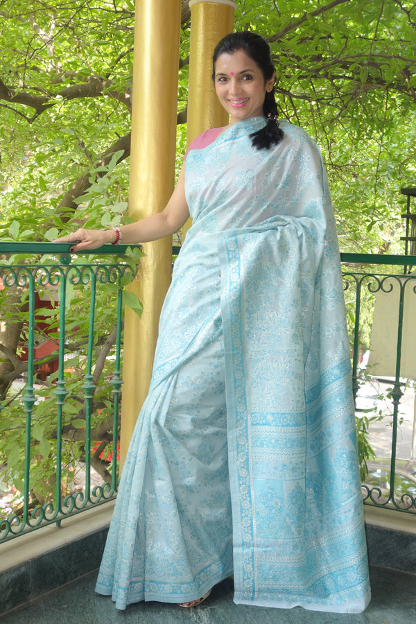 Sky blue cotton Kani saree - Kashmir Collection - sohum sutras
