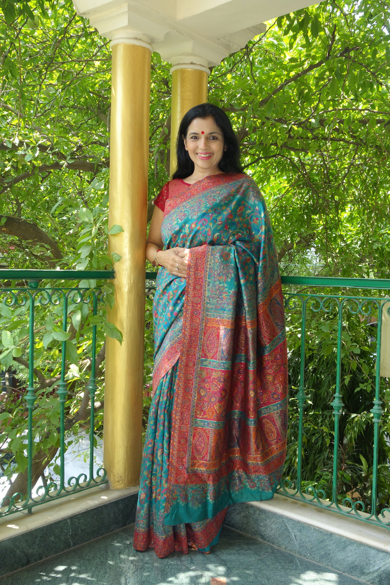 Teal and red Kani saree with narrow border - Kashmir Collection - sohum sutras