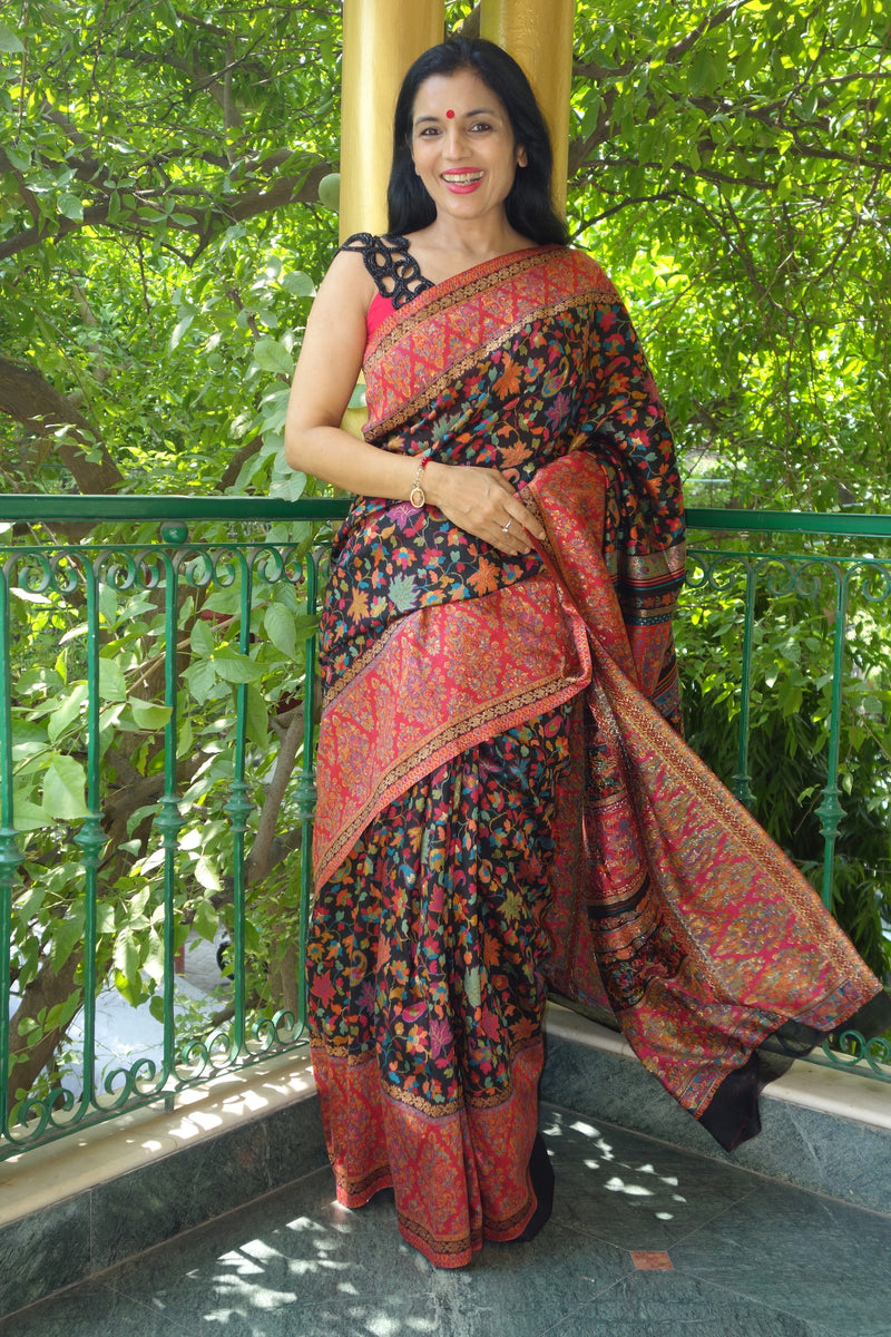 Black chinar kani saree from sohum sutras