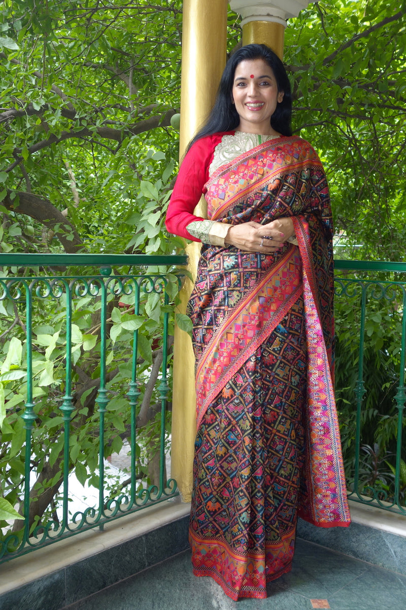Black Ikat Kani saree - Kashmir Collection - sohum sutras
