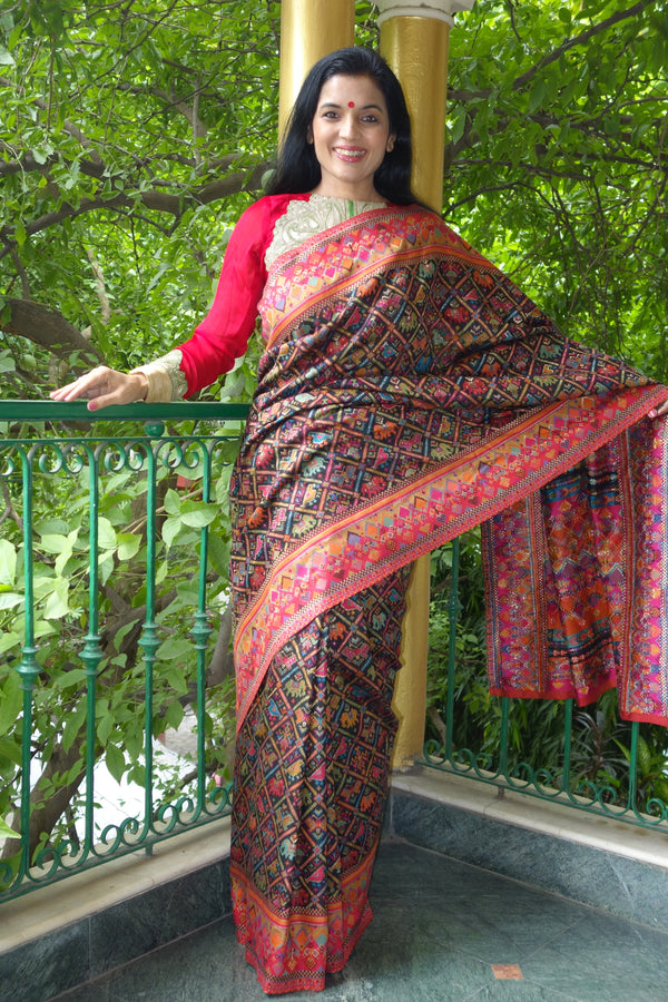 Black Ikat Kani saree from sohum sutras