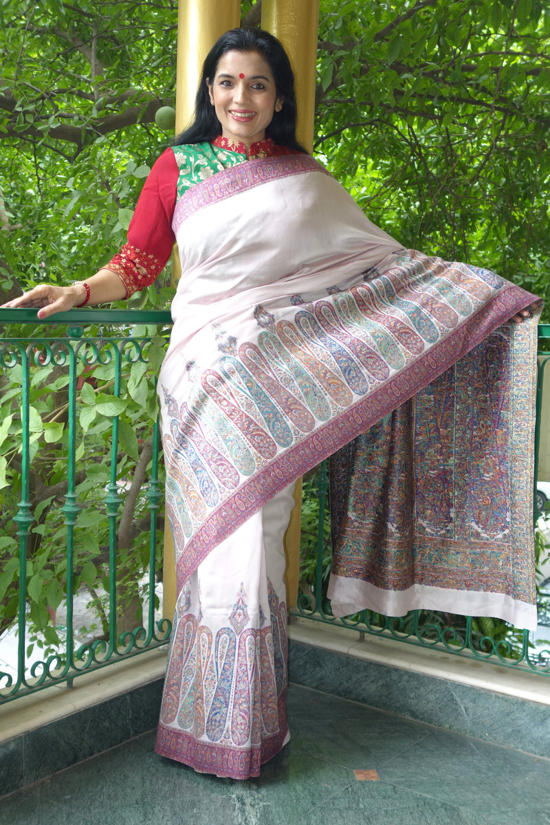 Mauve Kani saree with heavy skirt border and Pallu - Kashmir Collection - sohum sutras