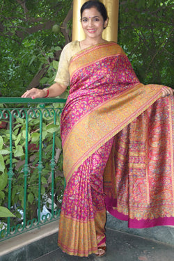 Fuschia Kani saree with Broad Border - Kashmir Collection - sohum sutras