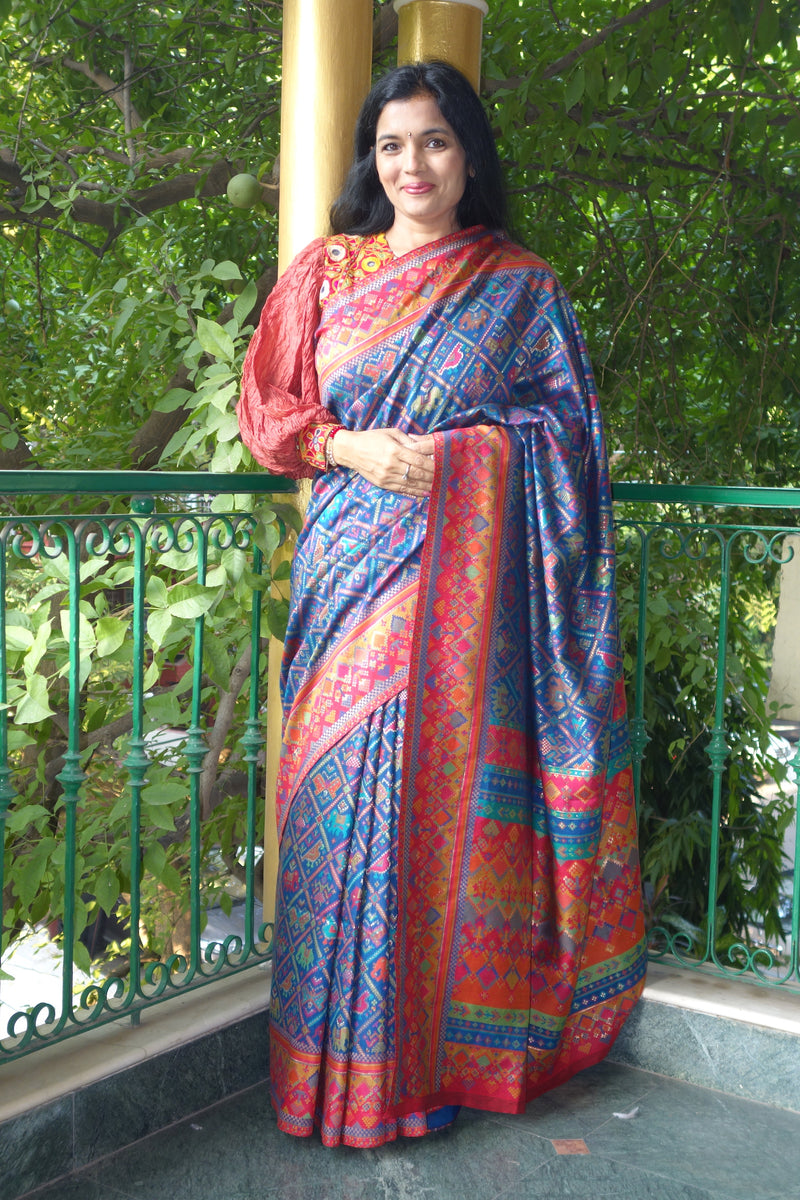 Blue Ikat Kani saree from Sohum Sutras