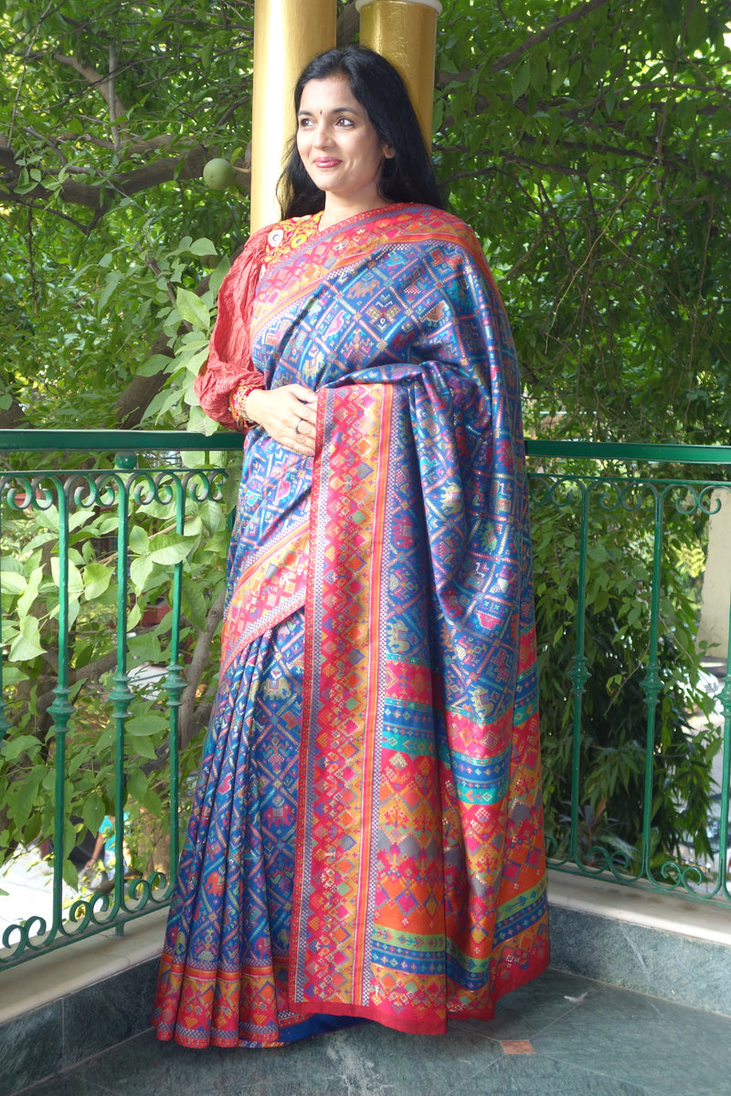 Blue Ikat Kani saree - Kashmir Collection - sohum sutras