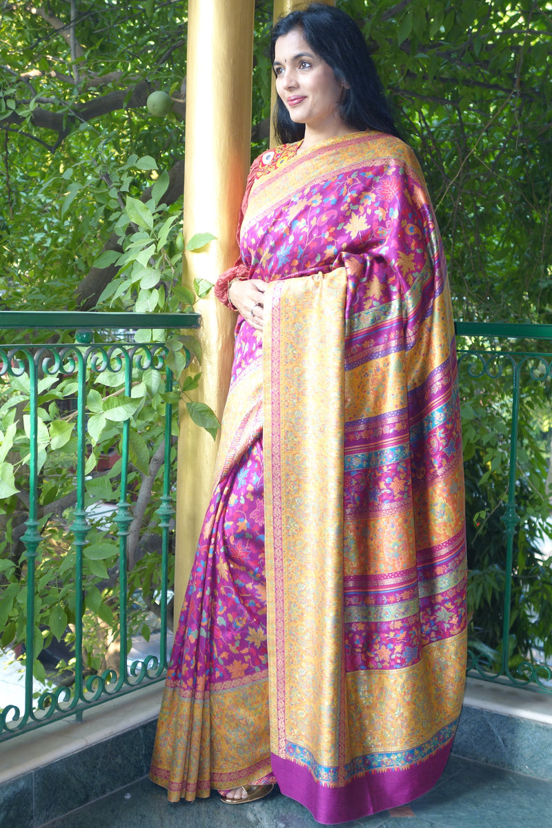 Fuschia Kani saree with broad mustard border - Kashmir Collection - sohum sutras