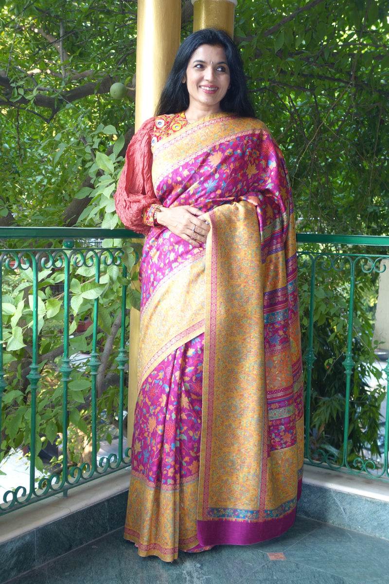 Fuschia Kani saree with broad border from Sohum Sutras