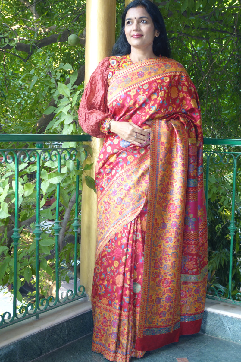 Red Kani saree from Sohum Sutras