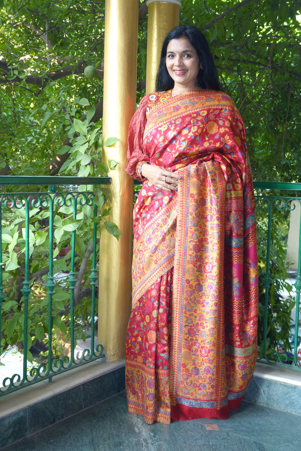 Red Kani Saree - Kashmir Collection - sohum sutras