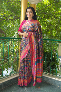 Navy Blue Ikat Kani saree - Kashmir Collection - sohum sutras