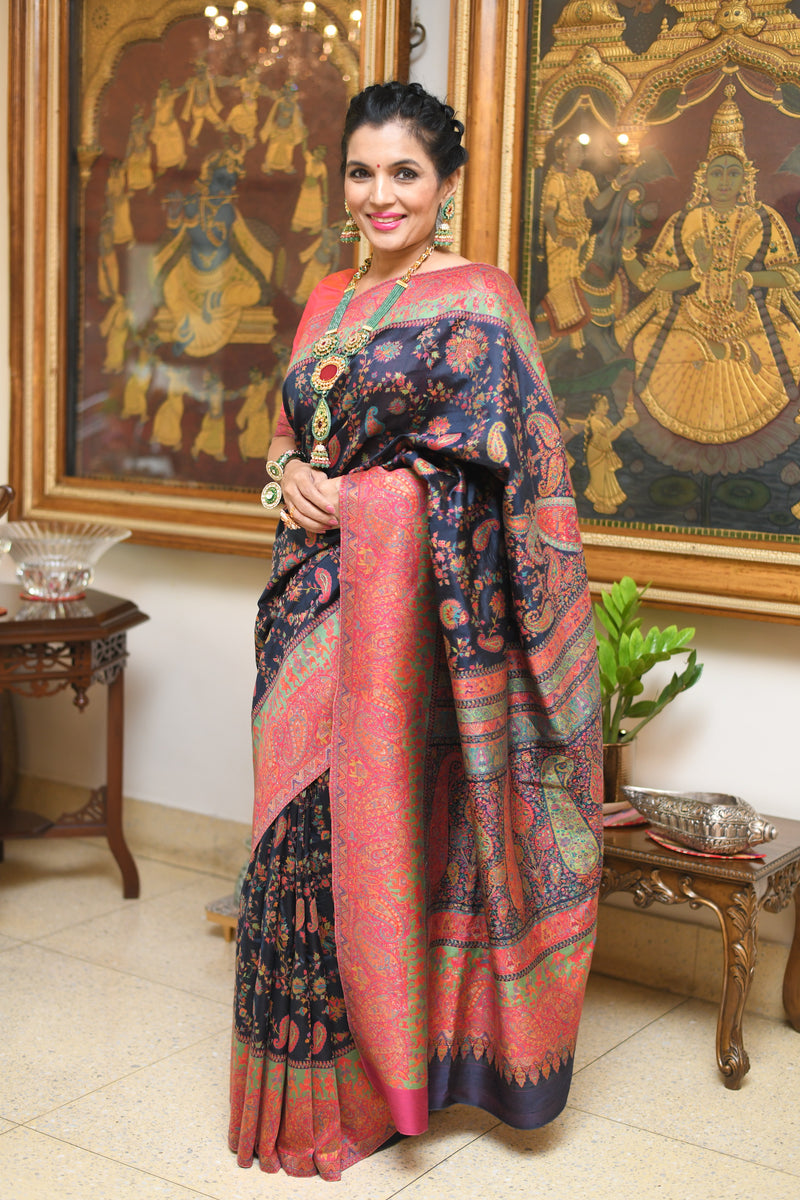 Black Dupioni silk Kani saree by Sohum Sutras