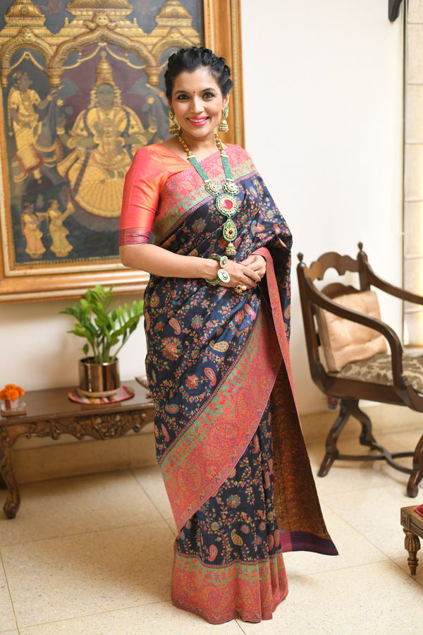Midnight blue Dupioni silk Kani saree - Kashmir Collection - sohum sutras
