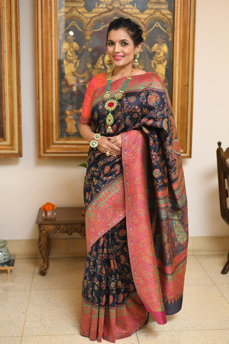 Black silk Kani saree by Sohum Sutras