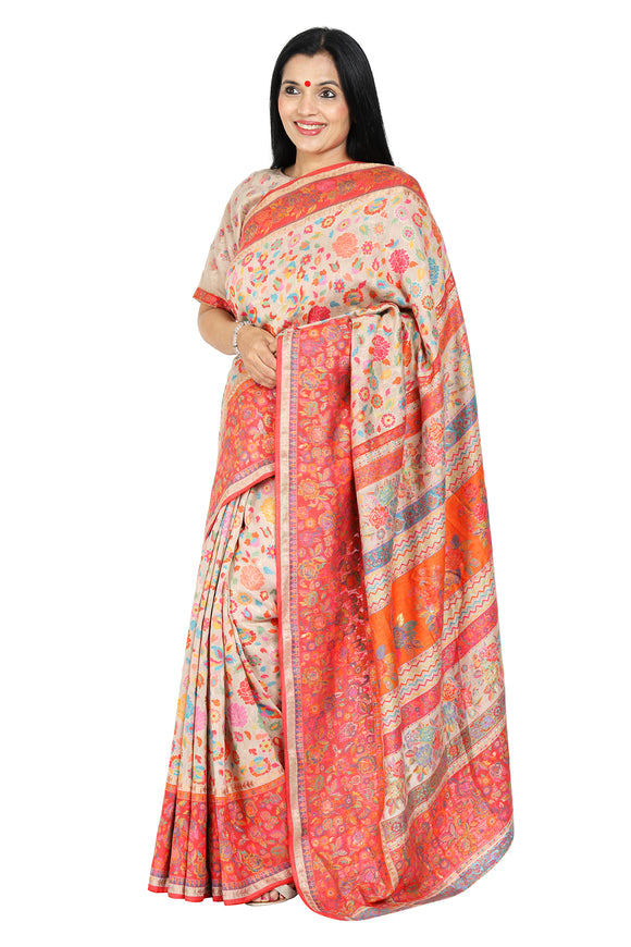 Orange Floral Kani Saree