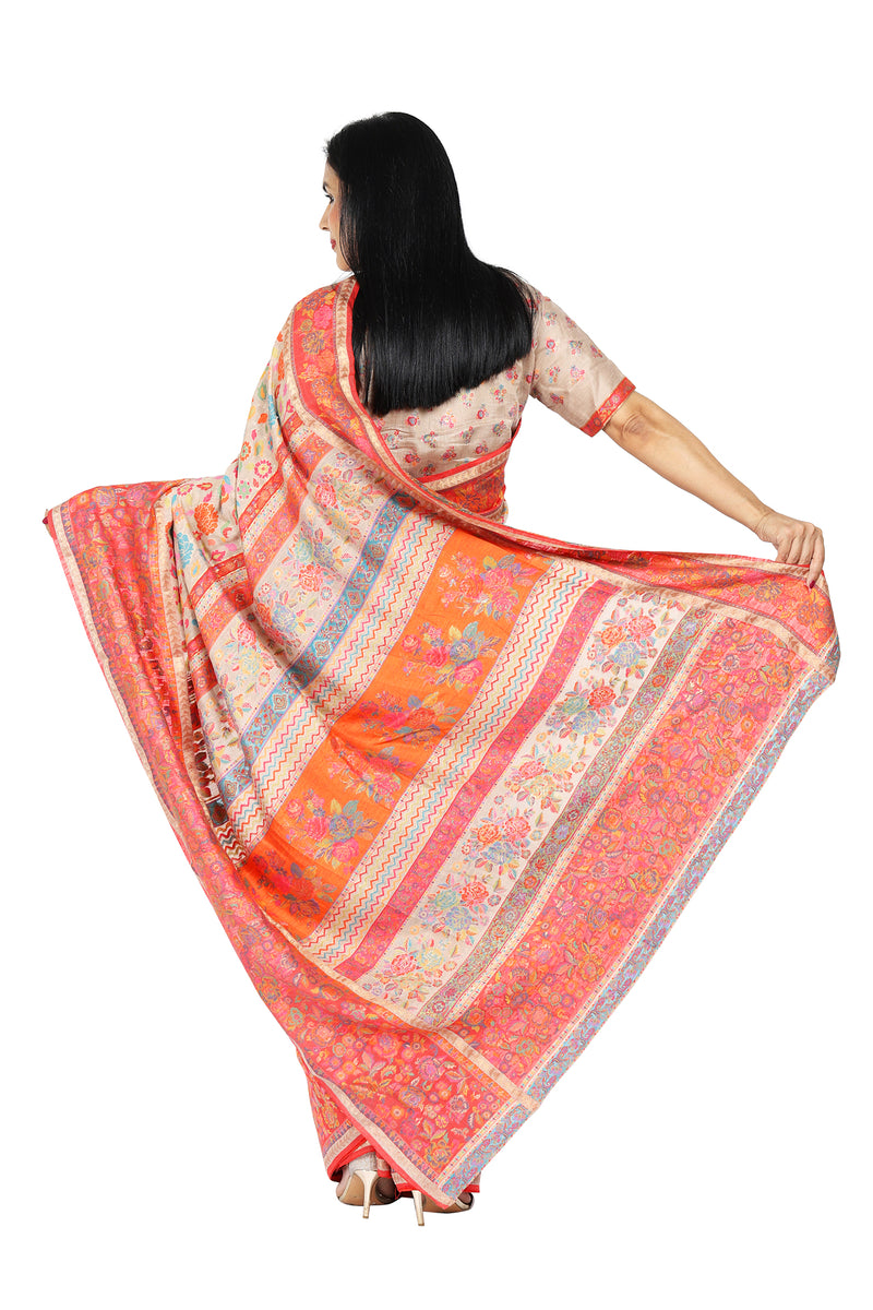 Orange Floral Kani Saree - Kashmir Collection - sohum sutras