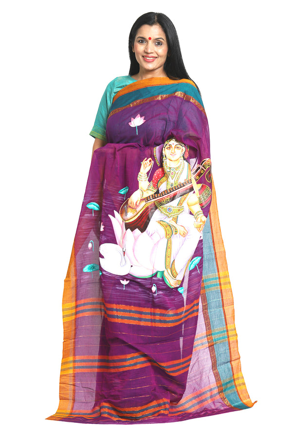 Handpainted saree- Saraswati - Sohum Sutras Collection - sohum sutras