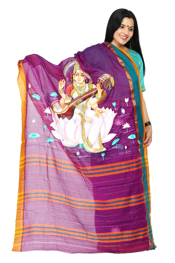Handpainted saree- Saraswati