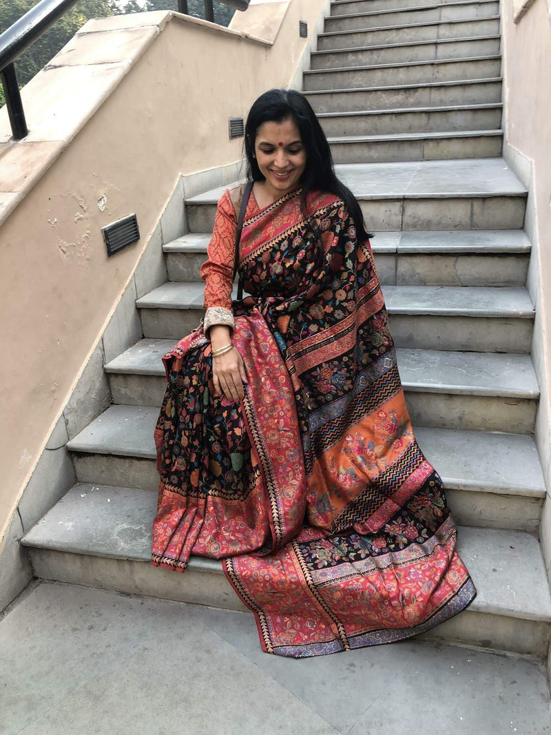 Black Floral Kani Saree - Kashmir Collection - sohum sutras